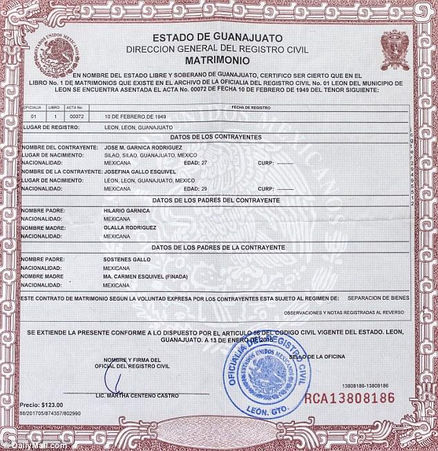 Garnica Gallo Marriage Certificate